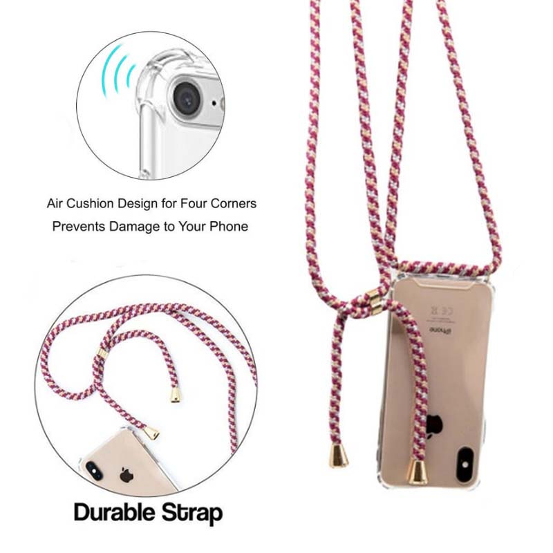 Phone-Case Cord-Lanyards Strap Necklace Clear Crossbody Transparent 8-Plus Xs-Max Luxury