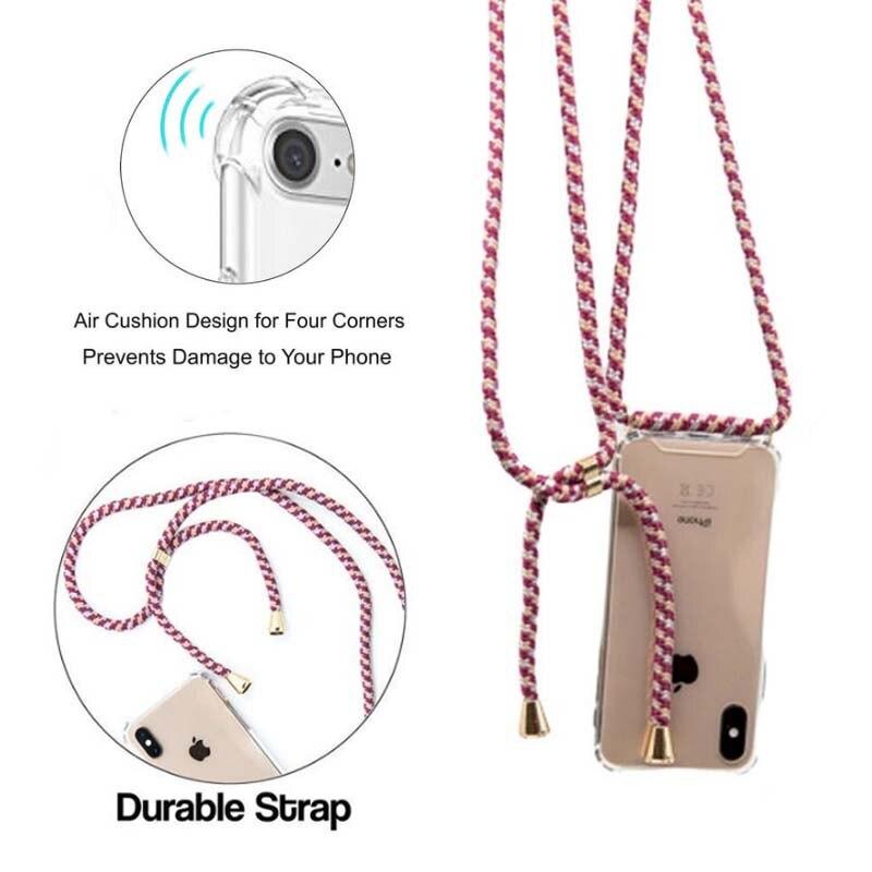 Funda de teléfono transparente de lujo con correa de Crossbody collar cordón cordones con cuerda para iphone 6 7 8 plus x xr xs max