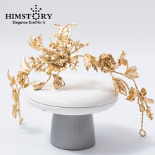 HIMSTORY Vintage Gold Roses Flower Headband Butterfly Headdress Bridal Wedding Hair Ornaments Headpiece Women Party Hairband
