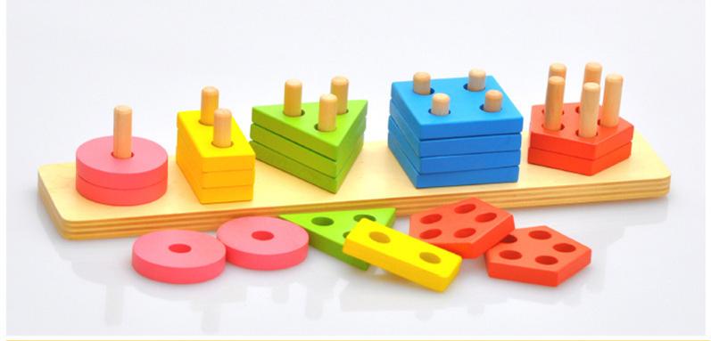 Montessori Toys Wooden Blocks Geometry Shape Model Building Kits Children Educational Toy Wood Building Blocks 4