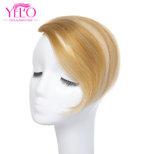 YELO Brazilian Remy Hair Clip In Bangs Human Hair Extensions 1b# 2# 4# 613# red# 27/613# Clip On Bangs Hair Topper(China)