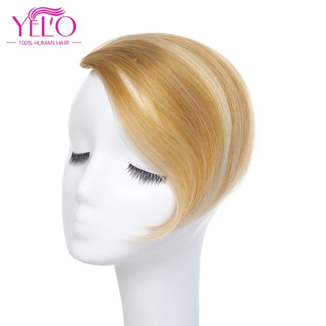 YELO brasileño Remy Clip de pelo en flequillo extensiones de cabello humano 1b #2 #4 #613 # rojo #27/613 # Clip en flequillo pelo Topper
