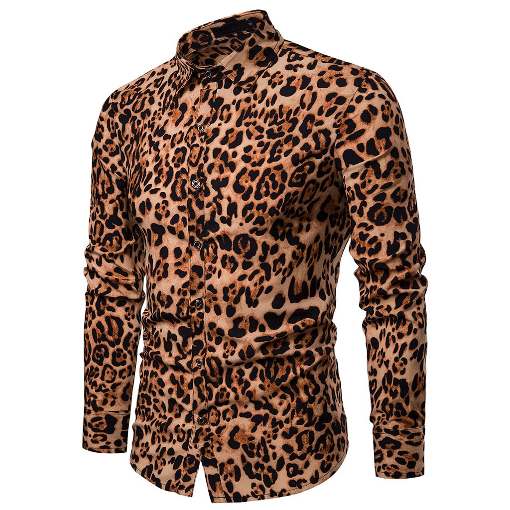 Conscientious Brand 2019 New Cotton Punk Style Leopard Print Male Slim Turn-down Collar Long Sleeves Casual Shirts| Jan15 Cheap Sales 50%