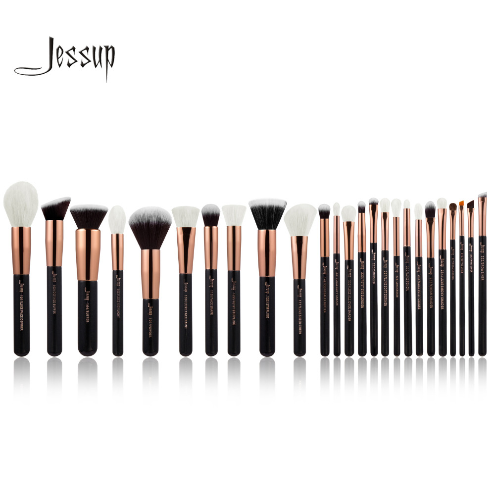 Jessup Rose Gold/Black Professional Makeup Brushes Set Make up Brush Tools kit Foundation Powder Blushes natural-synthetic hair professional makeup brushes set make up brush tools kit foundation powder blushes white and black