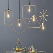 Creative personality   modern geometry lamp restaurant Pendant Lights clothing store Nordic living room corridor bar E27