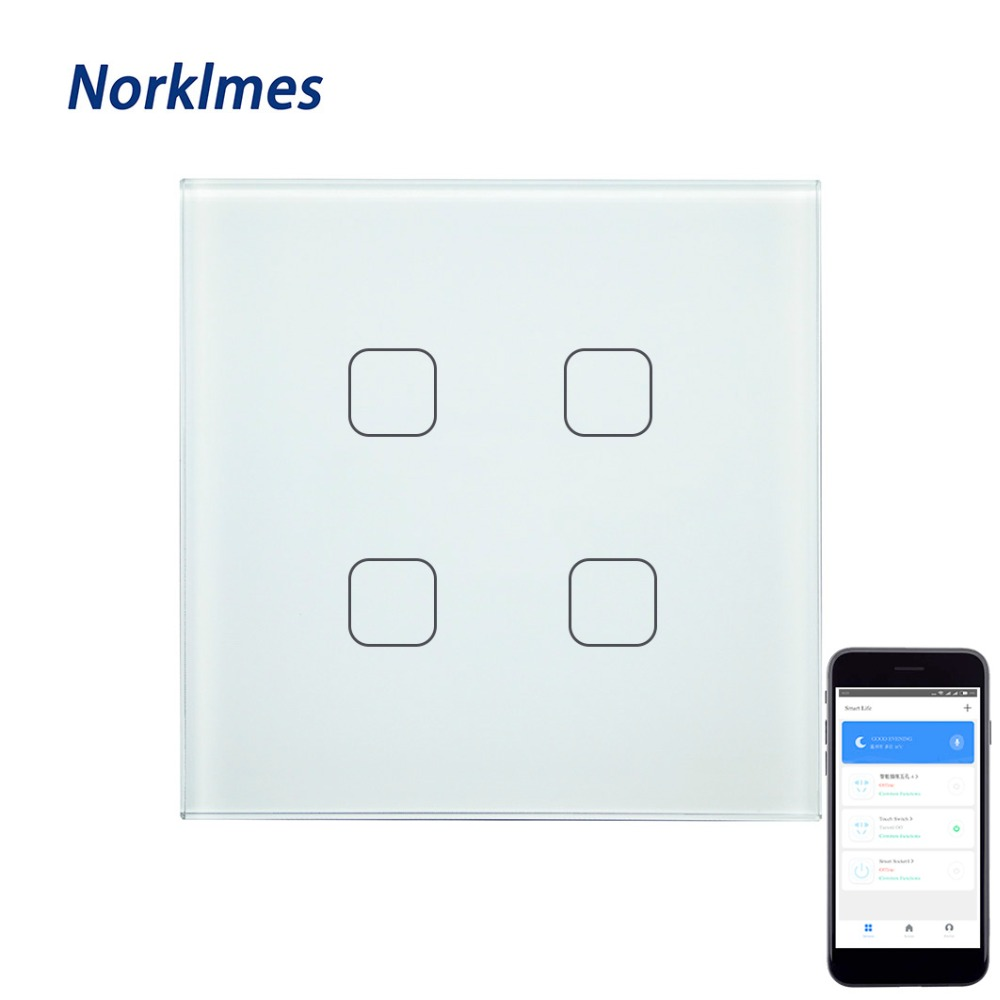 EU&UKWIFI remote control mobile phone APP directly connected luxury glass touch screen 4gang wall switch home lighting switch