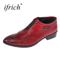 Ifrich New Arrival Men Dress Shoes Slip On Male Fashion Business Shoes Comfortable Red Men Platform