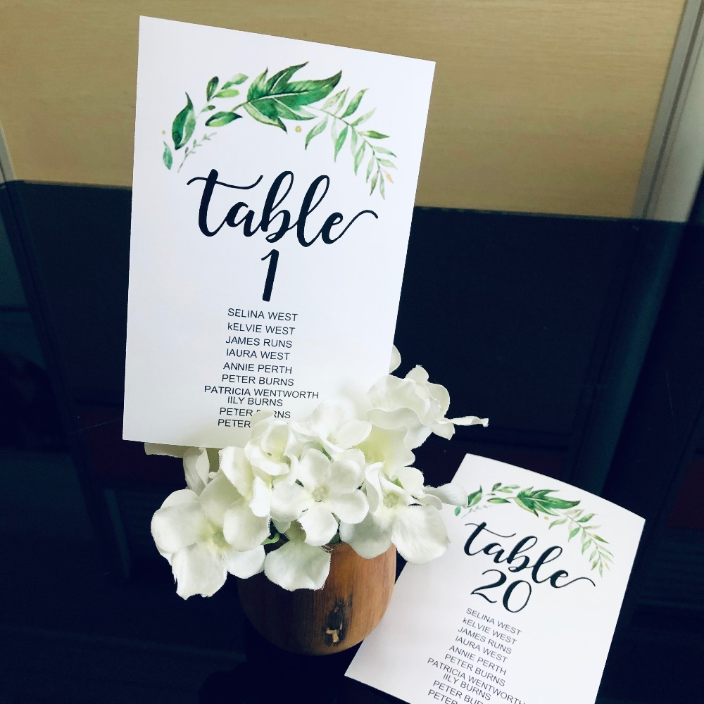 10 personalized wedding place card table names numbers