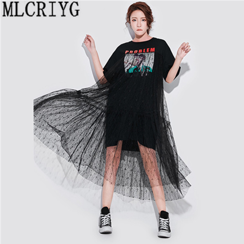 factory authentic shop for luxury popular design US $21.2 52% OFF|Long Lace Dresses Summer Korean Splicing Pleated Tulle T  shirt Dress Women Big Size Black Color Clothes New Fashion 2019 YQ220-in ...