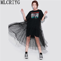 Long Lace Dresses Summer Korean Splicing Pleated Tulle T shirt Dress Women Big Size Black Color Clothes New Fashion 2019 YQ220