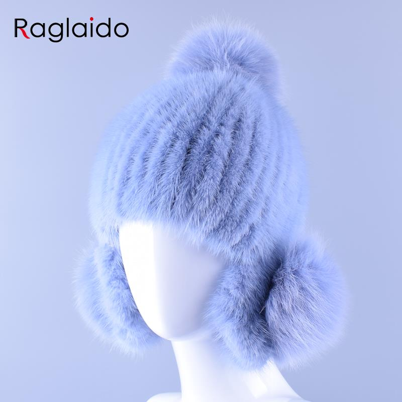 2016 Women Mink Fur Hats Hand Knitted Beanie Real Fur Winter Hats Natural Genuine Pompom Caps Warm Trapper Hats kenmont LQ11158