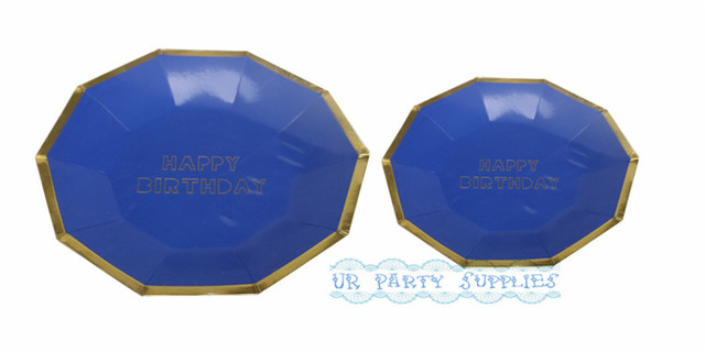 16pcs Navy Blue Colored with Gold Foil Paper Plates Birthday Parties Celebrations Showers Special Events Metallic  sc 1 st  AliExpress.com & 16pcs Navy Blue Colored with Gold Foil Paper Plates Birthday Parties ...