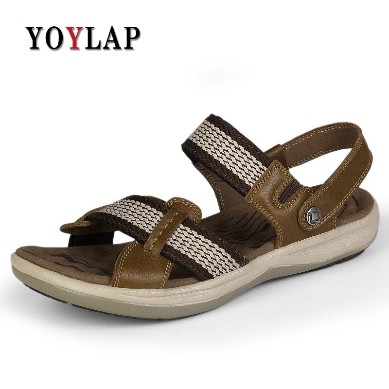 Plus Size 36-47 Men Sandals Genuine Leather Fashion Summer Shoes Men Slippers Breathable Mens Sandals Causal Shoes