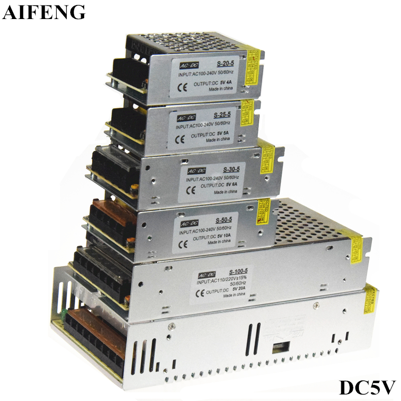 AIFENG DC 5V Switching Power Supply 4A 5A 6A 10A 20A 60A Power Supply Switching Power AC 110V 220V To DC 5V For Led Strip Lights aifeng dc 24v switching power supply 1a 2a 3a 5a 15a 25a power supply switching power ac 110v 220v to dc 24v for led strip light