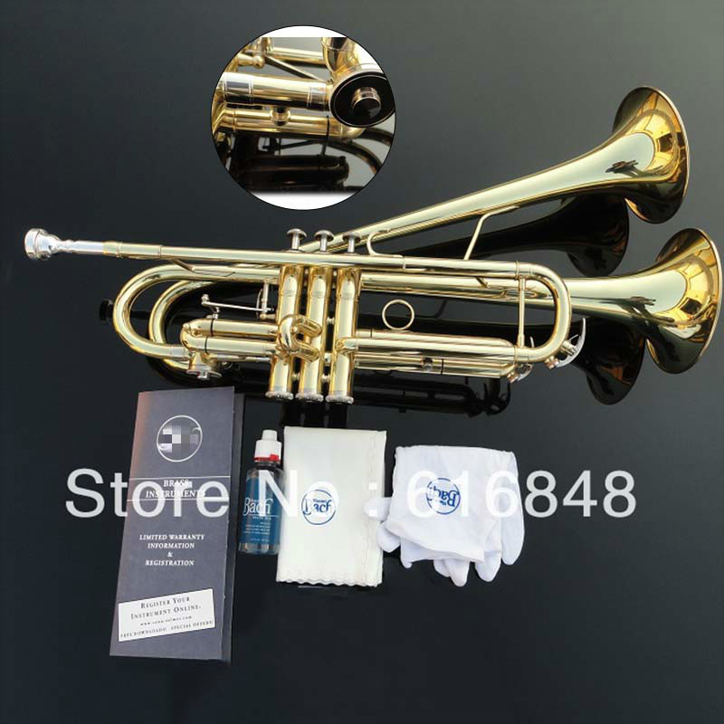 Hot Sell Bb Small Trumpet Adjustable Double Horn Gold Plated Surface Professional Music Instruments High Quality Brass Tube professional double french horn gold f bb keys cupronicekl tuning pipe with case