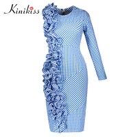 Kinikiss 2017 Spring Women Bodycon Dress Blue Plaid Asymmetric Pleated Patchwork Party Dress Autumn Fashion Sheath