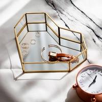 1Pc Gold Glass Desktop Storage Trays Nordic Makeup Organizer Sundries Serving Tray Dessert Plate Copper Decorative Storage Tray