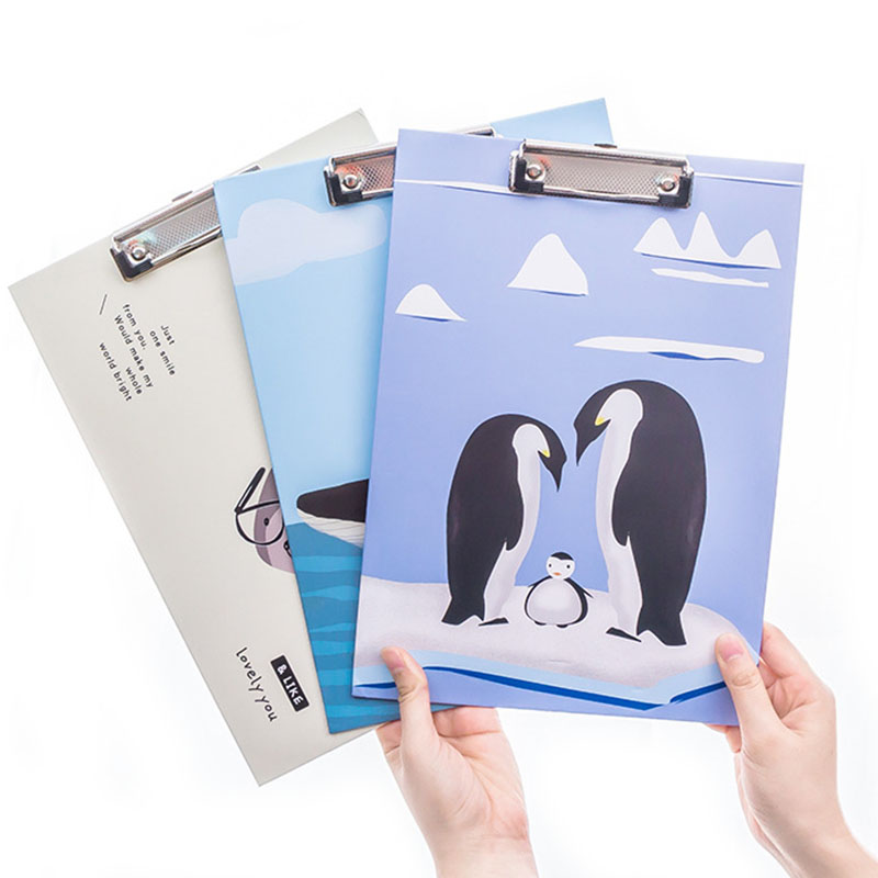 1pcs Random Cartoon A4 Paper Writing Pads Practical Office School Stationery File Folder Cute Pretty Document Paper Clipboard creative stationery a5 flip board folder splint vertical writing clipboard page splint writing pad folder pu random