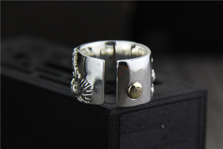925 sterling Thai silver vintage open size adjustable ring mens jewelry carved dragon finger ring