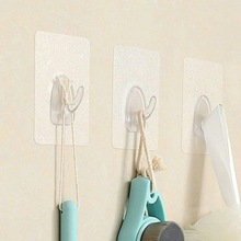 2019 HOT SALE Adhesive Wall Hooks Clear Plastic Reusable Seamless Wall Mount Hanger Hooks For Kitchen Bathroom Door
