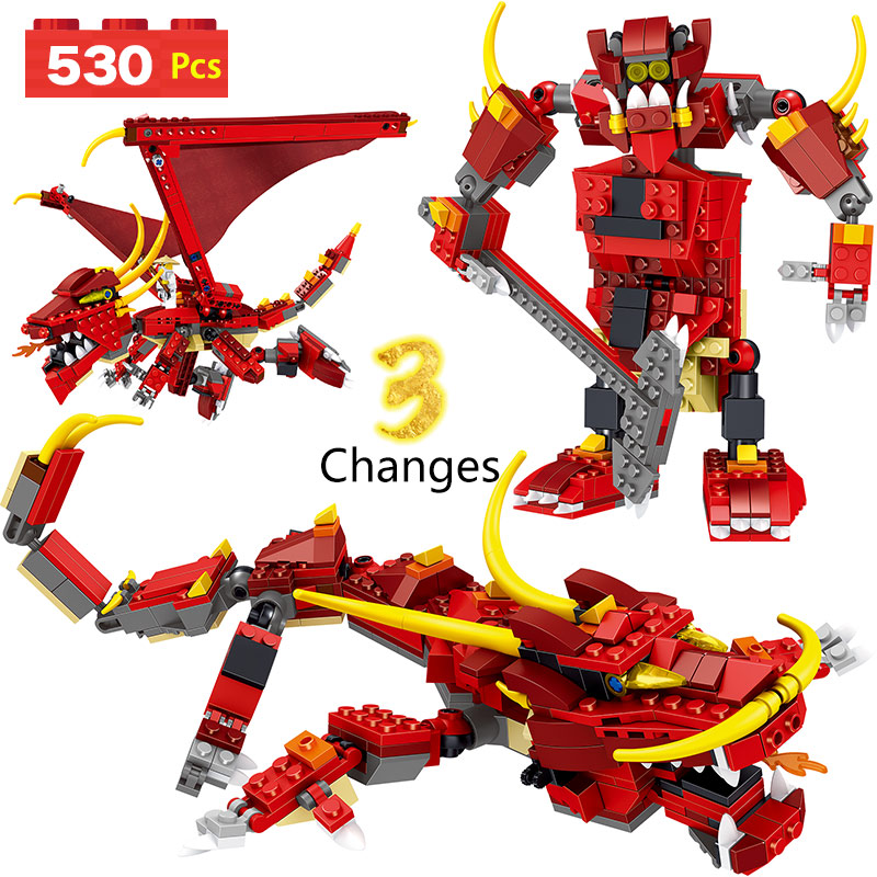 Deformation Ninjagoes Dragon Animal Building Blocks Bricks LegoINGlys Mini Action Figures Ninjago Dragon Building Block For Kid ninjago set green mech dragon building blocks kids hot toys ninja bricks mini action figures enlighten toy legoinglys figure