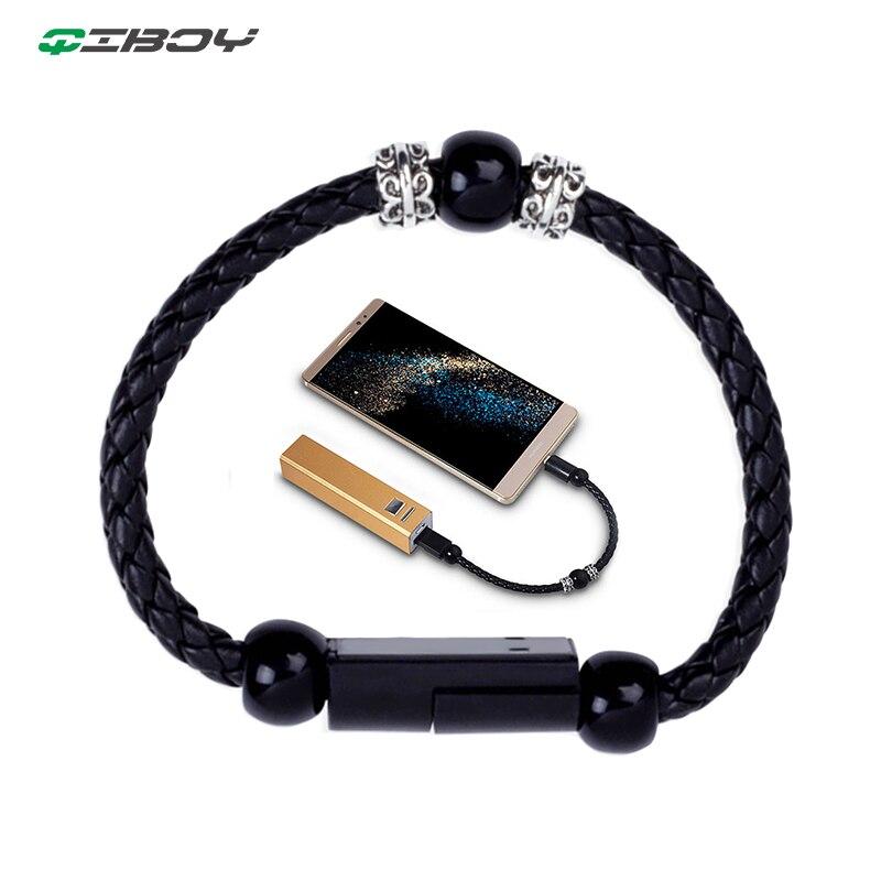 Плетеный браслет, портативный кабель Micro USB для мобильного телефона, быстрая зарядка для iphone, Xiaomi, Тип C, зарядное устройство, шнур, ювелирный адаптер