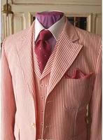 Red Pinstripe Cotton Seersucker Tuxedo Designs Prom Suits For Men Groom Wear Men Suit Jacket Wedding Suits For Men(Jacket+Pants+
