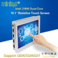 Minisys Wall Mount 10.1'' Tablet PC Intel J1900 Dual NIC Industrial All In One PC Resistive Touch Screen Computer For Windows 10