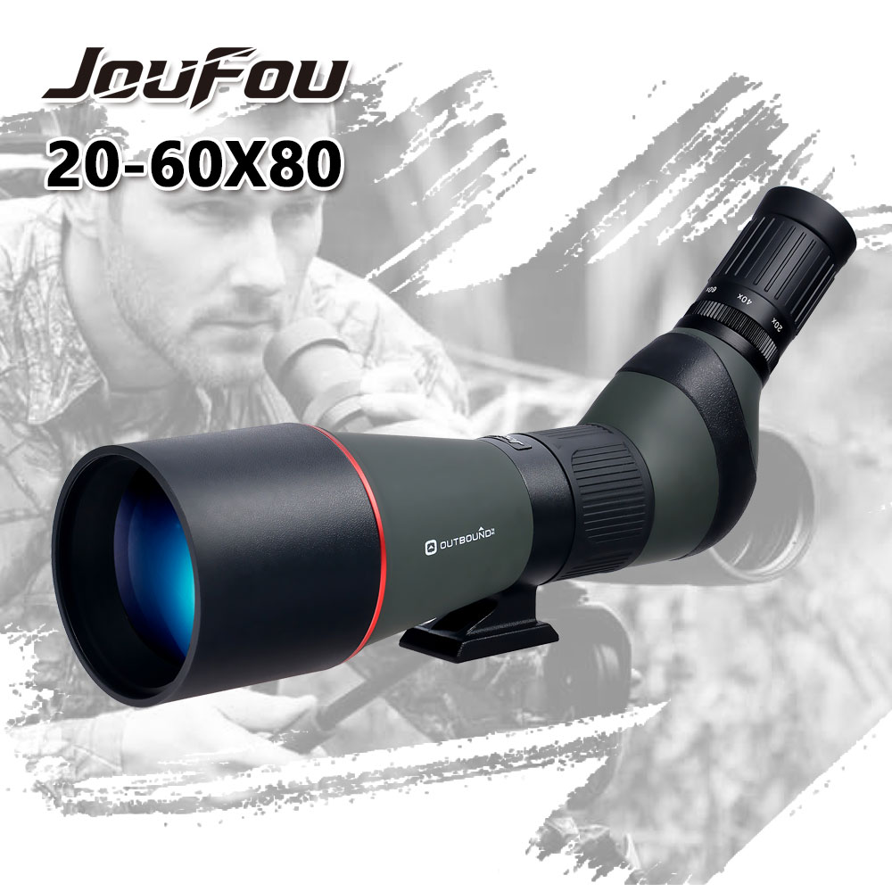 JouFou 20-60X80 Spotting Scope Monocular Big Angle Wideangle Zoom Waterproof Hunting Shooting Telescope with Birdwatching Tripod outdoor 20 60x60 zoom monocular telescope spotting scope optical lens with tripod carrying bag for birdwatching hunting dp006
