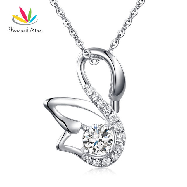 Peacock Star Swan Pendant Necklace Solid 925 Sterling Silver Jewelry Created Diamond Bridesmaid CFN8061