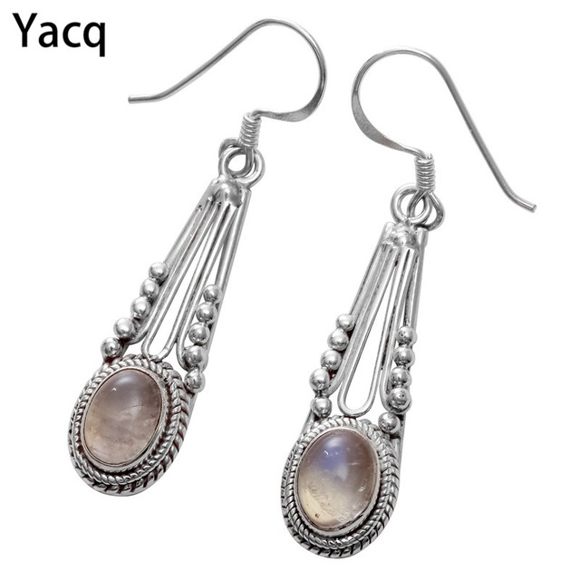 YACQ 925 Sterling Silver Moonstone Dangle Earrings Jewelry Birthday Gifts For Women Wife Her Girlfriend Mom Dropshipping BE07