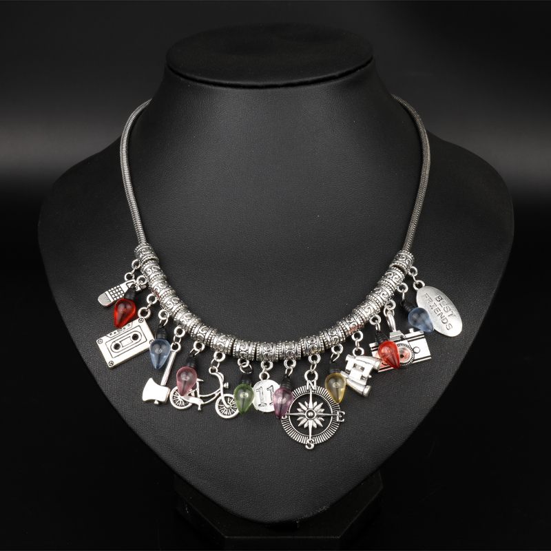 dongsheng jewelry Stranger Things Choker Necklace Gun Bicycle Axe Christmas Tree Camera Necklace For Women Fashion Accessories