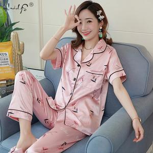 Image 3 - Floral Silk Pajamas Set Women Satin Sleepwear Short Sleeves Long Pants Sleep Suit Ladies Silk Pyjamas Home Clothing Nightwear