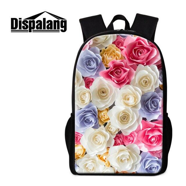 Dispalang Flower Print Backpacks For Women Mochila Feminina Rose School  Backpacks for girl Bagpack Children Rucksack 80b9c4c332f8f