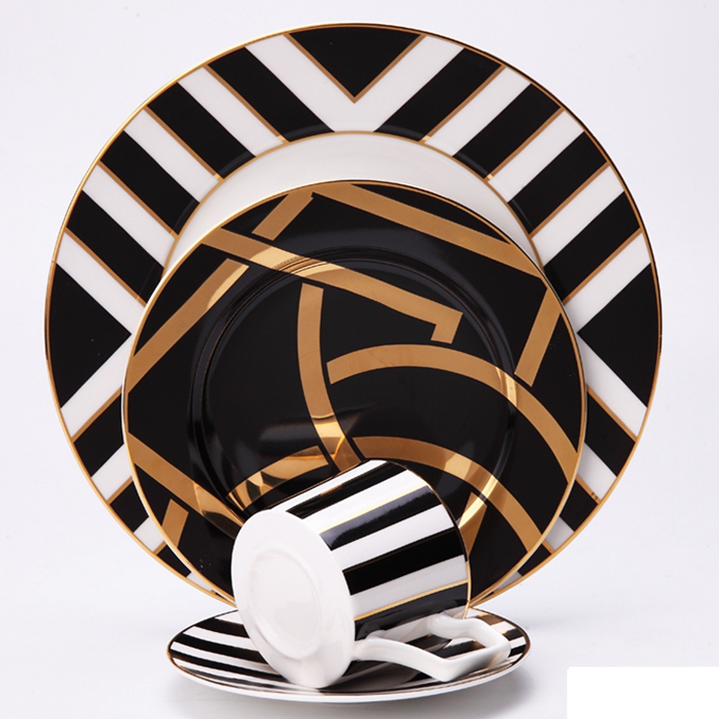 4 pcs set  modern black design ceramic bone china dinner sets for dinnerware and gift : coffee cup saucer with dinner plate