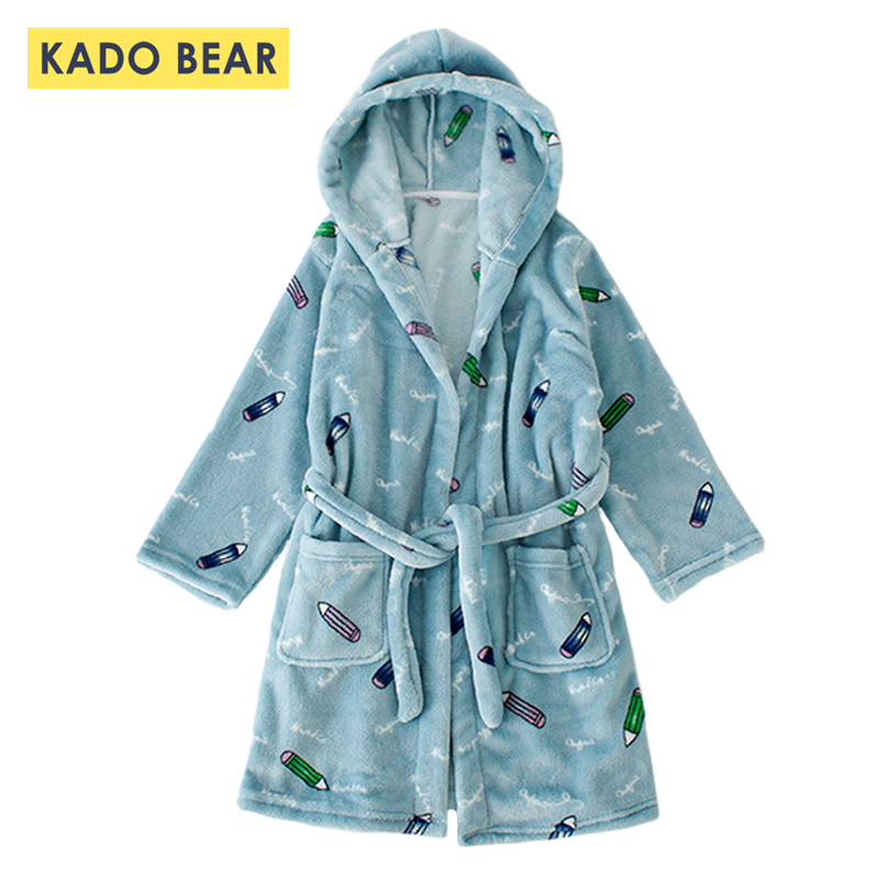 ce99310fb1 Girls Sleepwear Flannel Pajamas Boys Bathrobe Kids Velvet Fleece Robes  Children Bath Robe Hooded Towel Pyjamas