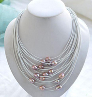 Elegant Handmade Real Pearl Jewelry 15 Rows 20 13mm Lavender Rice Freshwater Pearl White Leather Necklace