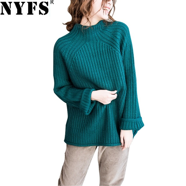 9fba5d1ffd NYFS 2018 New Style Autumn Winter Women Sweater Vintage Loose Pullover  Knitted Solid Oversize ladies Sweaters