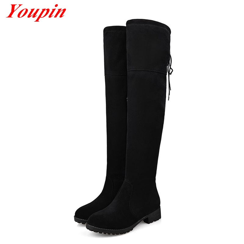 Real Sheepskin Side zipper Boots Fashion Over The Knee Boots 2015 Women Winter Boots Low Heel