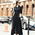 Spring women's 2016 career shirt fluid long-sleeve slim black full dress women one-piece dress autumn and winter