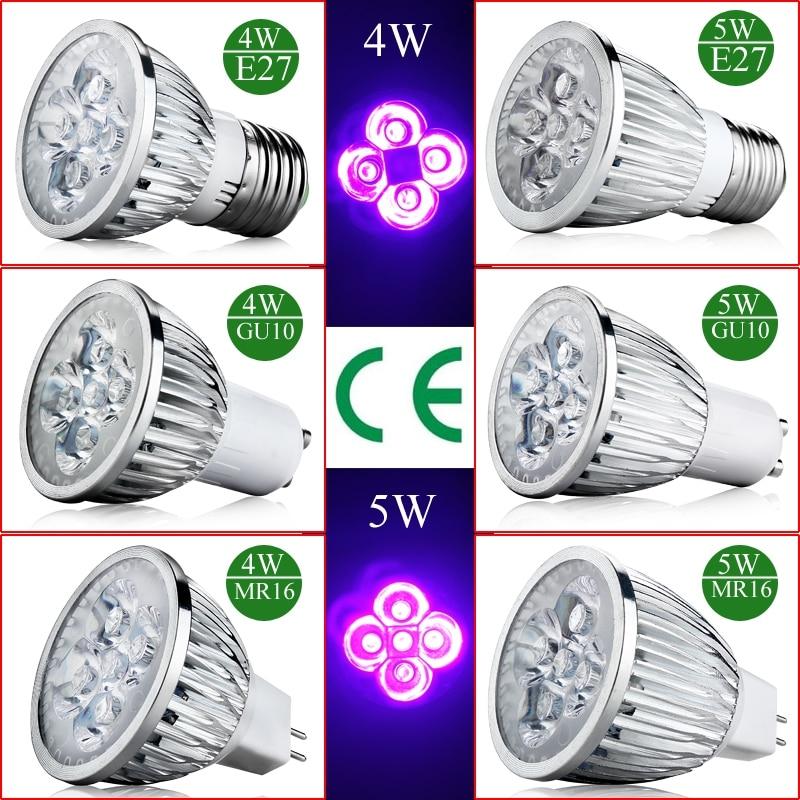 4W 5W E27 GU10 MR16 UV Bulb LED Ultraviolet Spotlight Lamp Bulb  Plant Light AC 85-265V /12 Aluminum Violet Light Purple Light