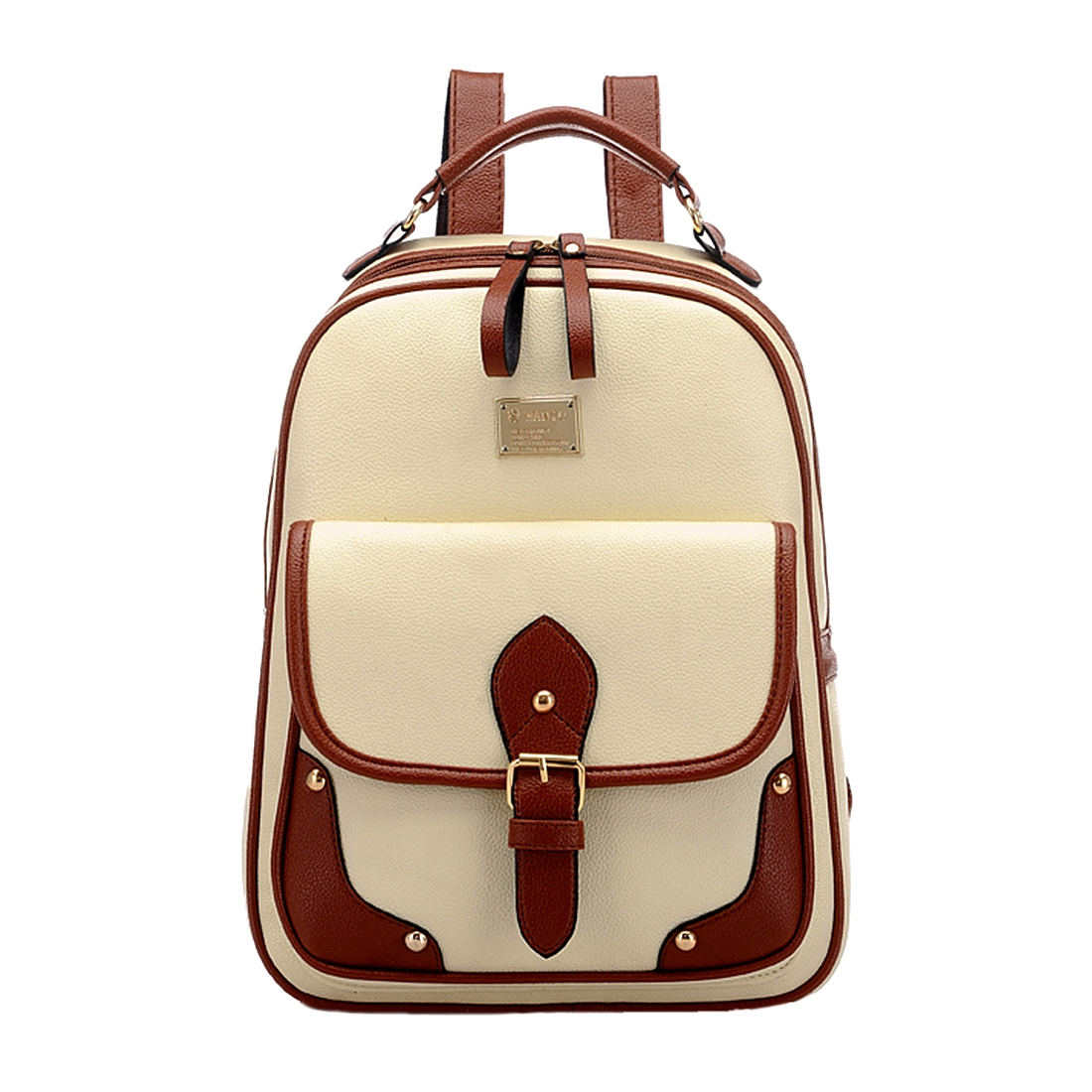 Vintage Leather Backpack Rucksack Shoulder Travel School Bag Knapsack Beige