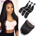 2/3 Straight Hair Bundles With Lace Frontal Malaysian Straight Virgin Hair With Closure 8A Unprocessed human hair with closure