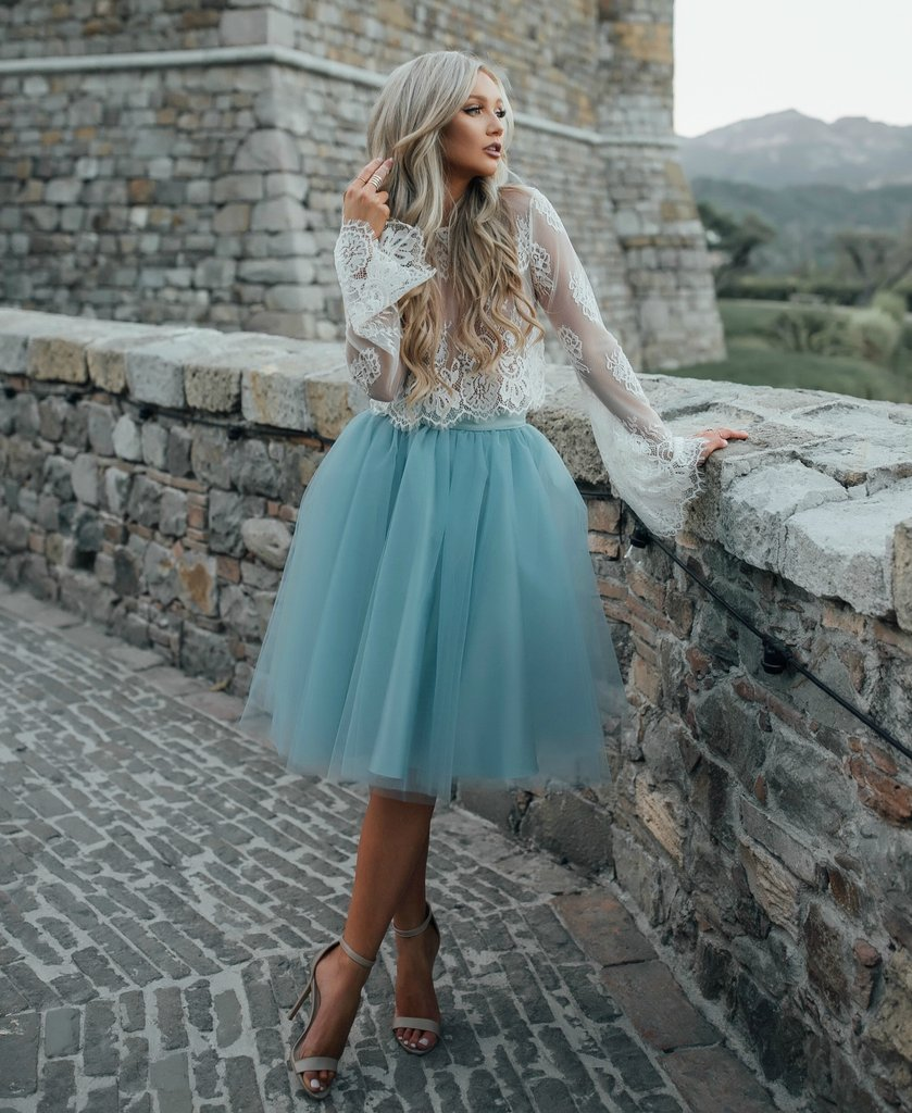 2017 Cheap White and Mint Lace Short Two Pieces Prom Dress Long ...
