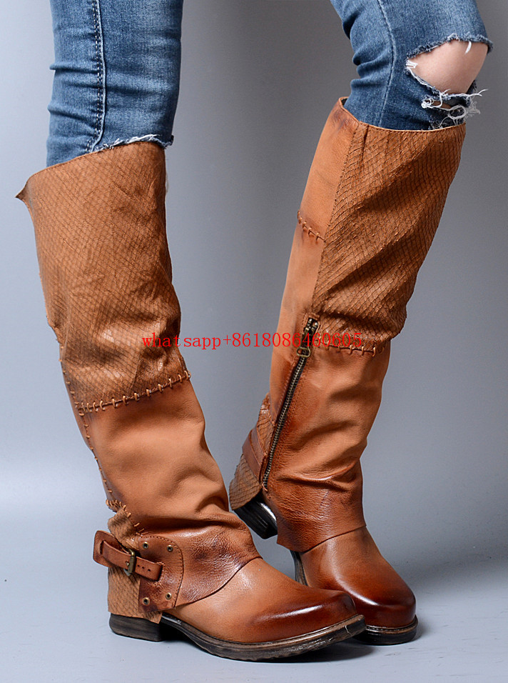 Women shoes 2017 thigh high boots genuine leather over the knee boots buckle strap horse riding bota feminina rain boots nayiduyun new thigh high shoes women wedge slip on over the knee boots high heel punk sneaker oxfords platform riding greepers