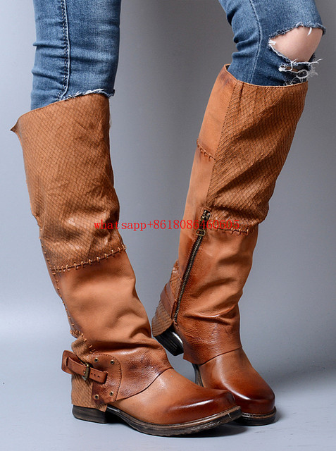 women shoes 2017 thigh high boots genuine leather over the knee