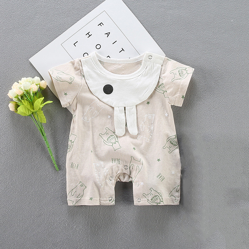 2018 Cute Baby summer cartoon bear Animals romper boxer short sleeved newborn clothes Leisure household to take