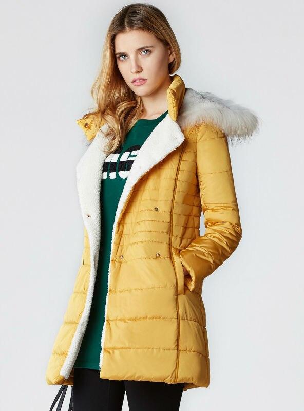 ФОТО women's warm cotton hooded parkas yellow black slim fit long hood coat jackets