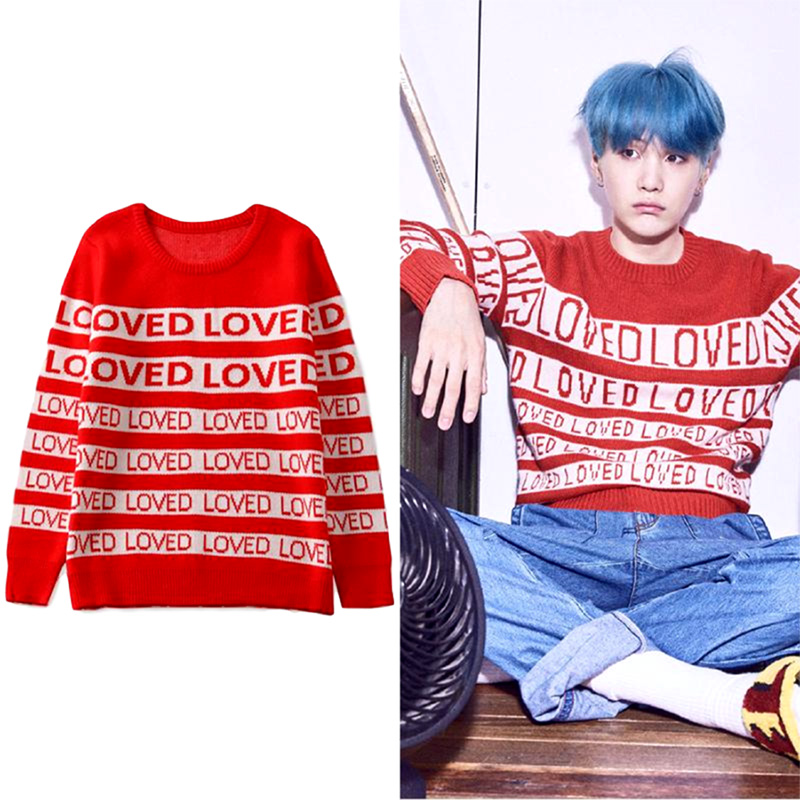 Kpop Bangtan Boys BTS Red LOVED Sweater SUGA Same O Neck Autumn Winter Unisex Long Sleeve Knitted Sweaters Christmas Outerwears