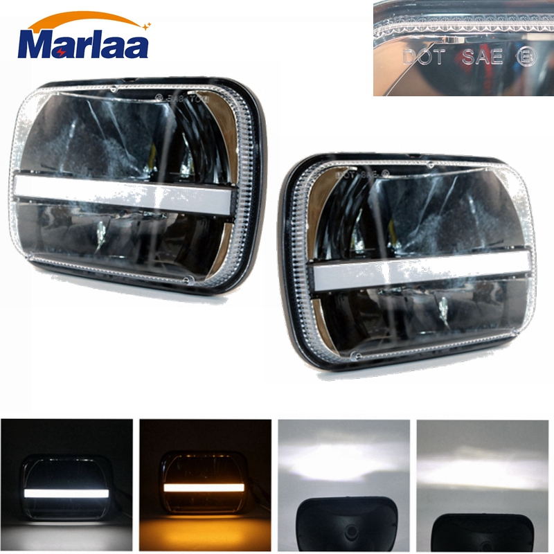 Marlaa A pair square 5''x 7'' Inch Daymaker headlight led trucklight with DRL Turn Signal Headlamp for jeep Wrangler YJ Cherokee 1 pair 7 inch rectangular led headlight